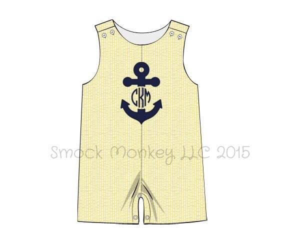 "Boy's applique ""ANCHOR"" yellow seersucker shortall (*SEE DESCRIPTION)(3m,18m,2t,4t)"