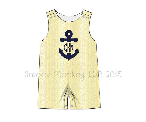 "Boy's applique ""ANCHOR"" yellow seersucker shortall (*SEE DESCRIPTION)(3m,4t)"