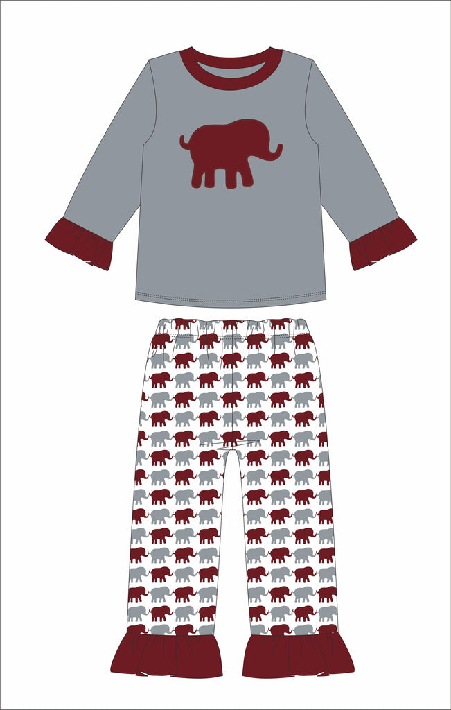 "Girl's applique ""ELEPHANT"" gray with elephant print 2 piece pajama set (18m,24m,2t,3t,4t,5t,6t,7t)"