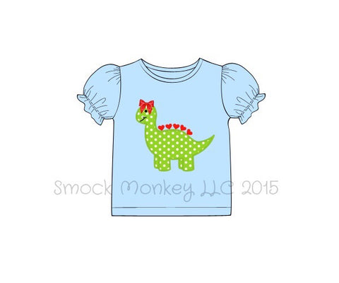 "Girl's applique ""DINOSAUR"" light blue short sleeve puff shirt (6m,9m,18m,2t,3t,4t,5t)"