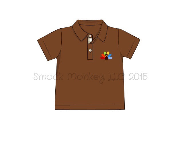 "Boy's embroidered ""TURKEY"" brown knit short sleeve polo style shirt (12m,24m,2t,8t)"