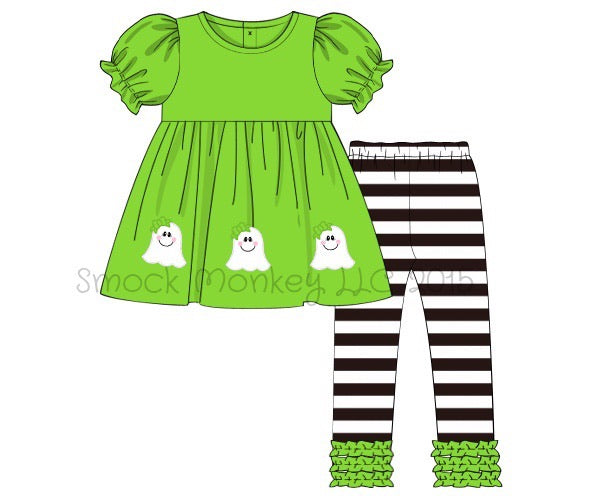 "Girl's applique ""GHOSTS"" lime green knit short sleeve swing top and black striped knit leggings (9m,8t)"