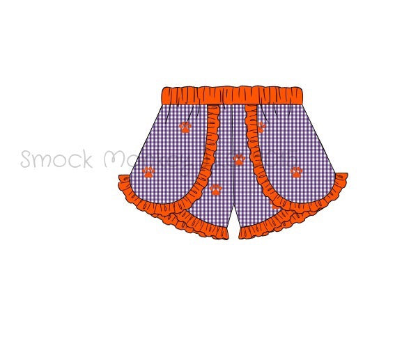 "Girl's embroidered ""PAWS"" purple microgingham with orange trim shorts (NB,12t)"
