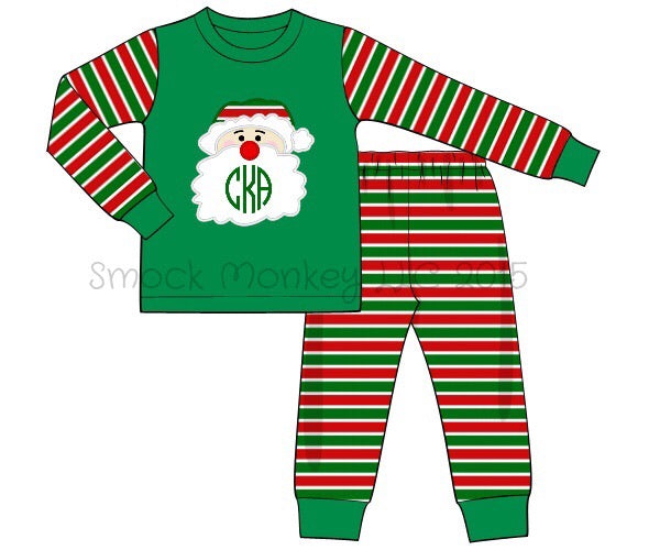 "Boy's applique ""SANTA"" two piece knit red/green/white striped pajama set (NO MONOGRAM) (3m,6m)"