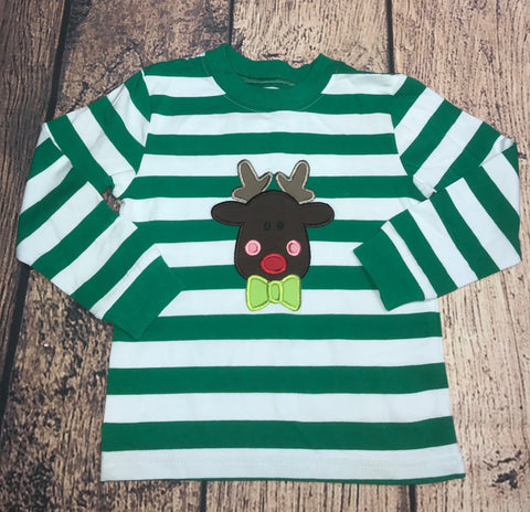 "Boy's applique ""RUDY THE RED NOSE"" green and white striped knit shirt (SIZE UP) (12m,2t,3t,4t,5t,6t,7t,8t,10t)"