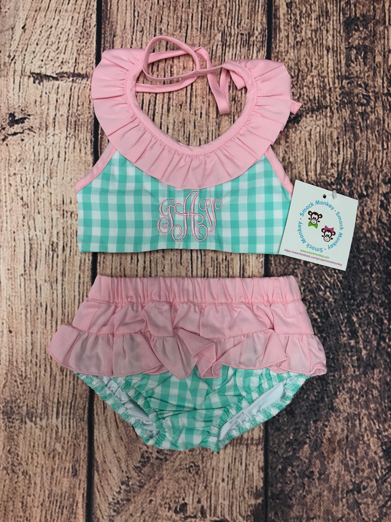 "Girl's mint gingham two piece swim suit ""JAV"" (12m)"