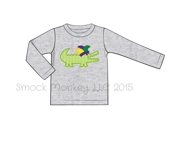 "Boy's applique ""MARDI GRAS ALLIGATOR"" gray long sleeve shirt (18m,24m,2t,3t,6t)"