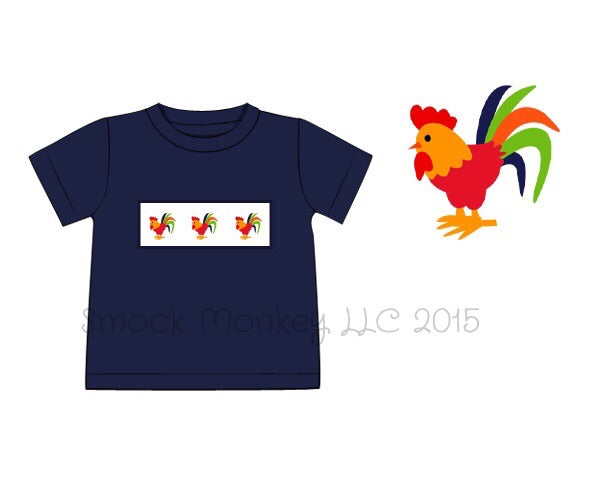 "Boy's smocked ""CHICKENS"" navy knit short sleeve shirt (5t,6t)"