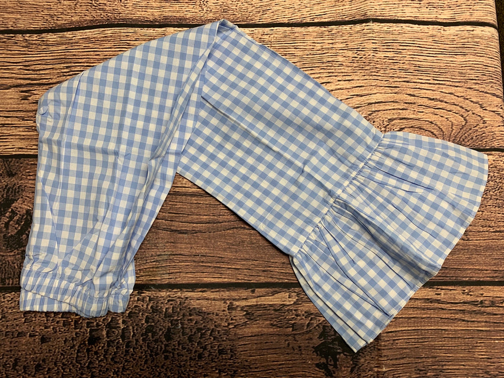 Girl's blue gingham single ruffle cotton pants (6m,10t)