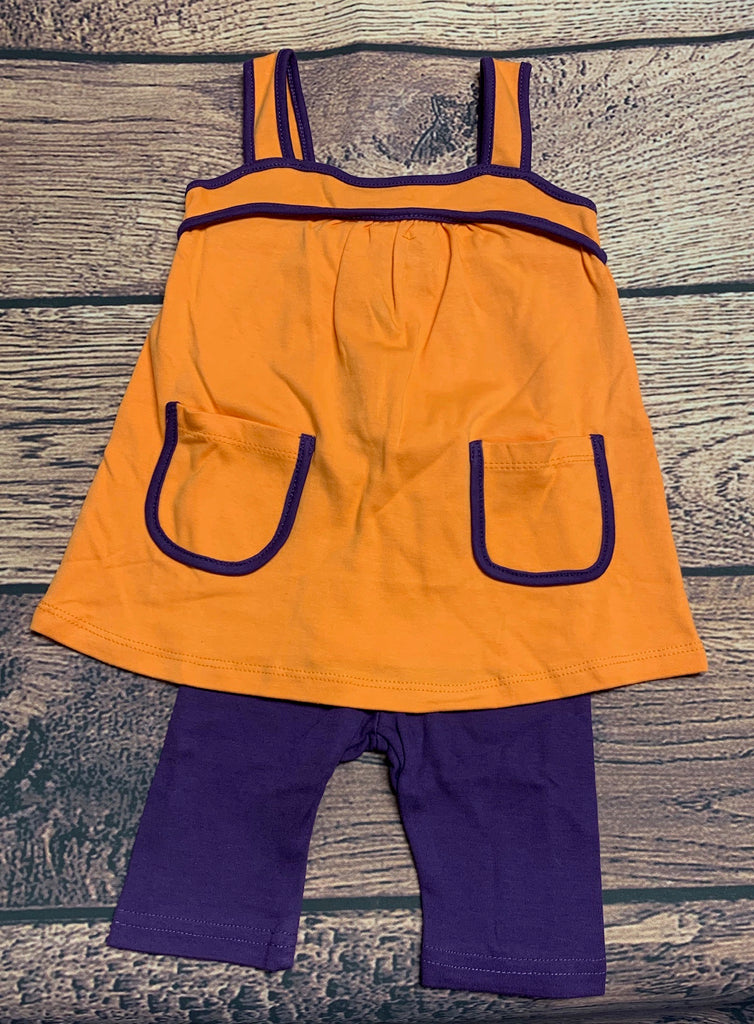 Girl's knit orange with purple trim swing top and purple Capri leggings (12m)