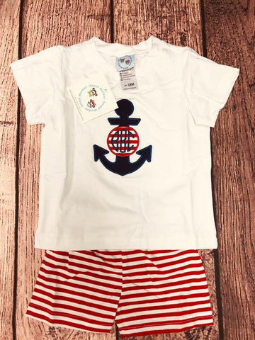 "Boy's applique ""ANCHOR"" white short sleeve shirt and red striped knit short set ""BBC"" (18m)"