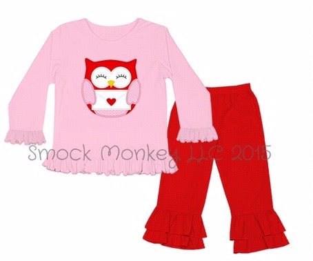 "Girl's applique ""OWL LOVE YOU"" pink love sleeve shirt and red knit ruffle pants (9m,18m,2t,4t,5t,6t,8t)"