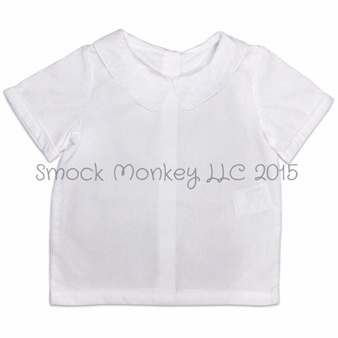 Boy's peter pan collar short sleeve shirt (6m,9m,12m,24m,2t,4t,6t)