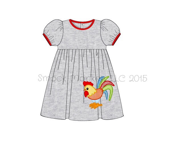 "Girl's applique ""CHICKEN"" gray knit short sleeve swing dress (24m,2t)"