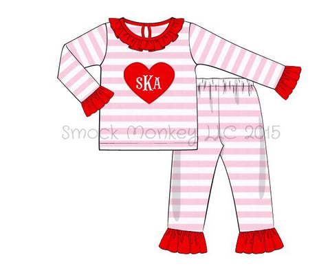 "Girl's applique ""HEART"" pink striped knit two piece pajama / pant set (NO MONOGRAM) (6m,18m,24m,2t,3t,4t,5t,6t,8t)"