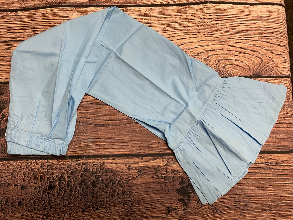 Girl's light blue shiny cotton single ruffle pants (10t)