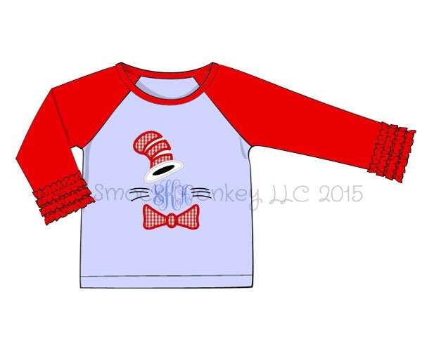 "Girl's applique ""DR. SEUSS"" blue baseball shirt with red ruffle sleeves (NO MONOGRAM) (18m,2t,3t,5t,6t,7t,8t)"