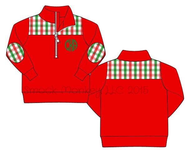 Boy's red knit with red/green gingham pullover (NO MONOGRAM) (3m,12m)
