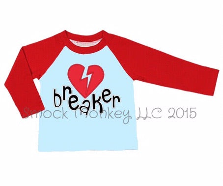 "Boy's applique ""HEART BREAKER"" light blue long sleeve baseball shirt with red sleeves (12m,18m,3t,4t,6t)"