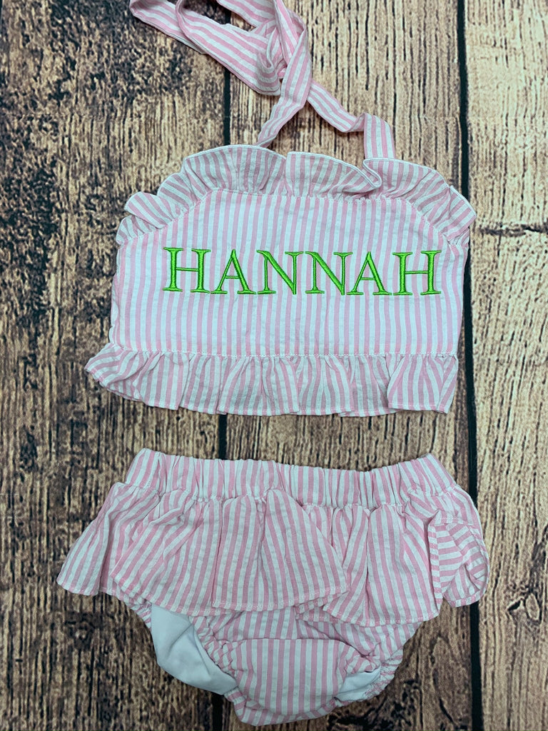 "Girl's pink striped seersucker two piece swim suit ""HANNAH"" (2t)"