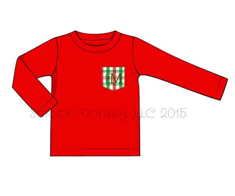 Boy's red knit long sleeve shirt with red/green gingham pocket (NO MONOGRAM) (12m,18m,4t,5t,10t)