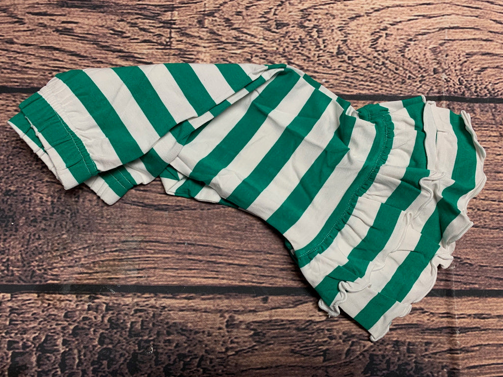 Girl's green striped knit double ruffle pants (18m)
