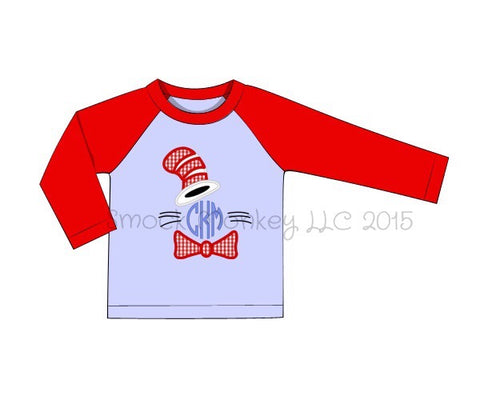 "Boy's applique ""DR. SEUSS"" blue baseball shirt with red sleeves (NO MONOGRAM) (24m,2t,4t)"
