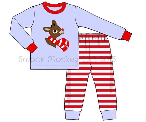 "Boy's applique ""RUDY"" baby blue with red stripes two piece knit pajama set (6m,18m,24m,4t,6t,8t,10t)"