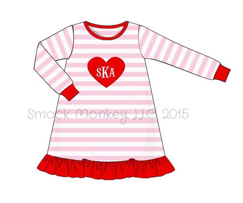 "Girl's applique ""HEART"" pink striped knit dress (NO MONOGRAM) (12m,18m,24m,2t,3t,4t,5t,6t,7t)"
