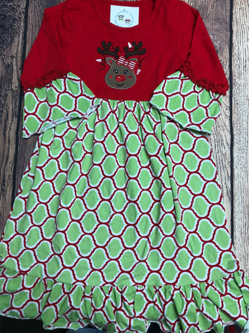 Girl's ST red top REINDEER with green / red quatrafoil dress (2t,7t,8t,12t)