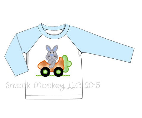 "Boy's applique ""SPEED BUNNY CARROT"" white and baby blue knit l/s baseball shirt (6m,18m,2t,3t,4t,5t,8t)"
