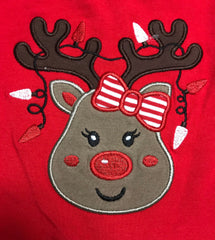 Girl's ST red top REINDEER with green / red quatrafoil dress (2t,3t,4t,5t,6t,7t,8t,10t,12t)