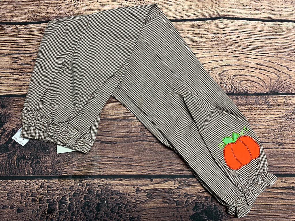 Girl's brown microgingham cotton pants with pumpkin applique (10t)