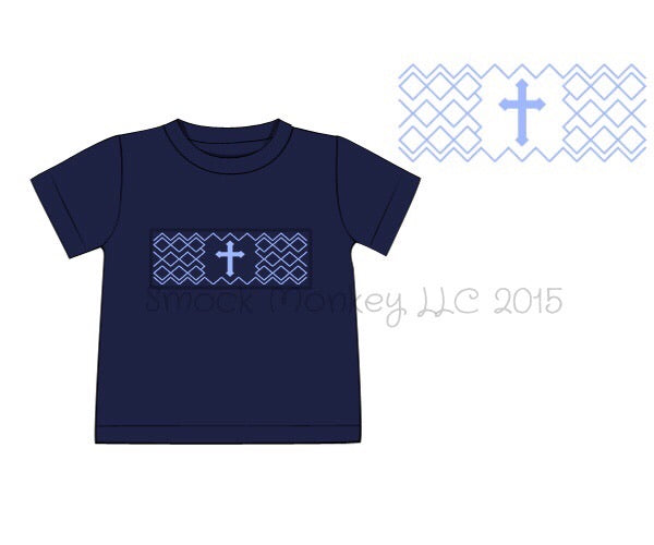 "Boy's smocked ""CROSS"" navy short sleeve knit shirt (6m,2t,3t,4t,6t,7t)"