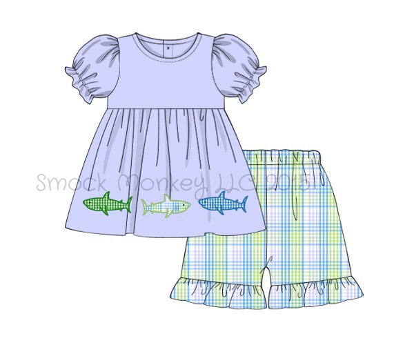 "Girl's applique ""SHARKS"" blue short sleeve swing top and blue / lime plaid ruffle short set (18m,2t,5t,6t,8t,10t)"
