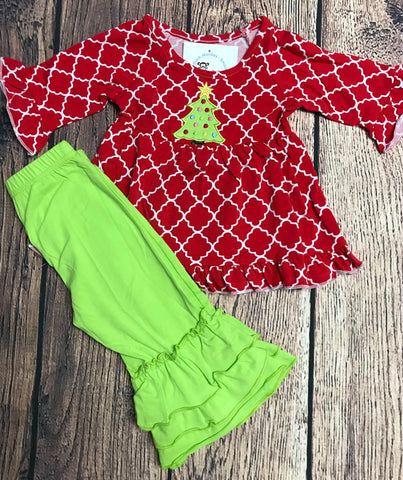 Girl's ST Red Quatrafoil applique TREE swing top and lime ruffle pants (4t,5t,6t,7t,8t,10t,12t)