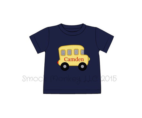 "Boy's applique ""SCHOOL BUS"" navy knit short sleeve shirt (NO MONOGRAM) (8t)"