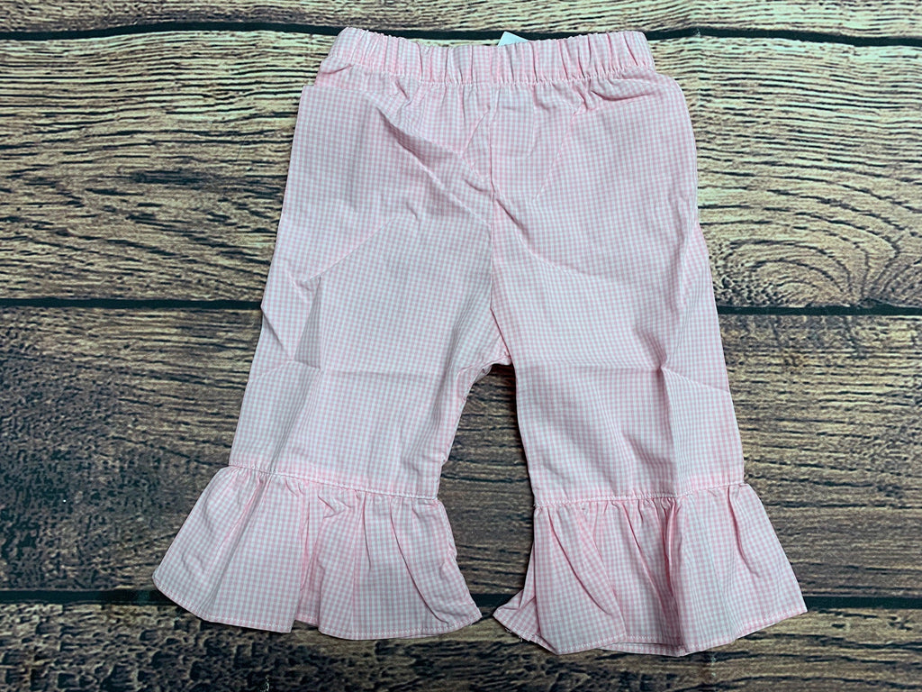 Girl's pink gingham cotton single ruffle pants (8t)