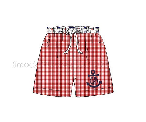 "Boy's applique ""FULL ANCHOR or BLANK"" red gingham with ANCHOR PRINT swim trunks (9m,12m,18m,24m,2t,5t,8t)"