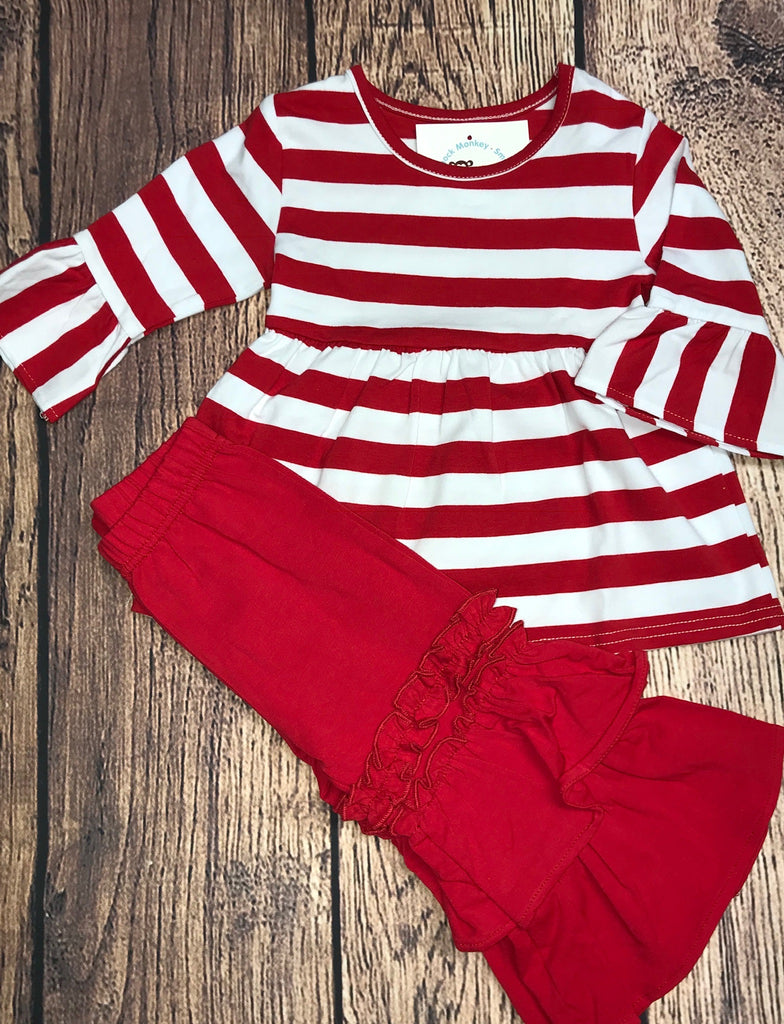 Girl's ST red striped bell swing top with red triple ruffle pants (12m,18m,2t)