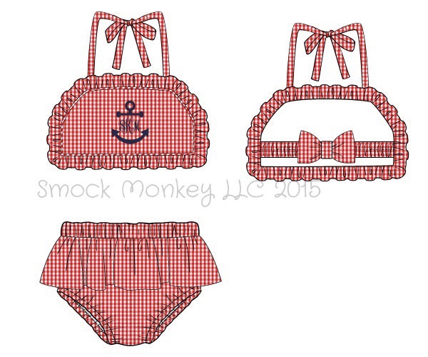 "Girl's applique ""FULL ANCHOR or BLANK"" red gingham two piece ruffle swim suit (NO MONOGRAM) (6m,24m,2t,3t,5t,7t,8t)"