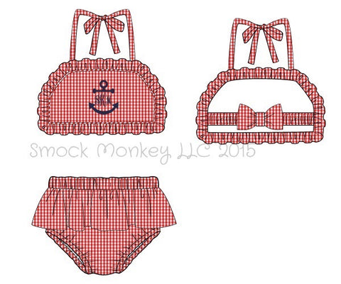 "Girl's applique ""NO ANCHOR"" red gingham two piece ruffle swim suit (NO MONOGRAM) (6m,7t,8t)"
