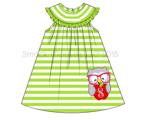 "Girl's applique ""SMARTY OWL"" lime green striped knit sleeveless a-line swing dress *see description (NO MONOGRAM) (18m,24m)"
