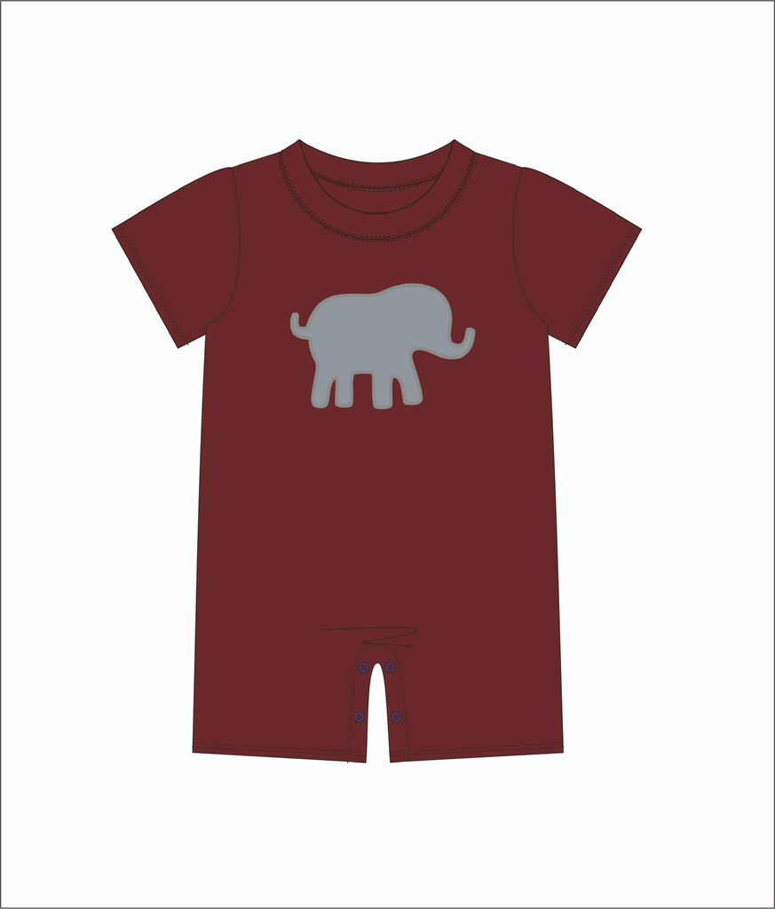 "Boy's applique ""ELEPHANT"" garnet short sleeve romper (6m,9m,12m,18m,24m,2t,3t,4t)"