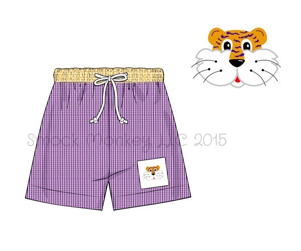 "Boy's smocked ""TIGER"" yellow and purple microgingham swim trunks (3m,12m,18m,24m,2t,3t,4t,5t,6t,7t)"