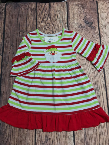 Girl's ST Christmas stripe applique SANTA Charlotte dress (2t,3t,4t,5t,6t,7t,8t,10t,12t)
