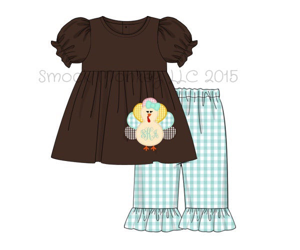 "Girl's applique ""TURKEYS"" short sleeve brown knit swing top and mint gingham ruffle PANTS (NO MONOGRAM) (6m,6t)"