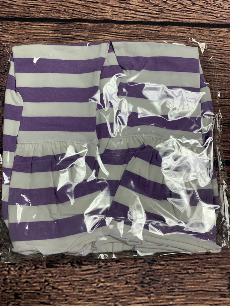 Girl's lavender striped knit single ruffle pants (24m,2t,3t,6t)