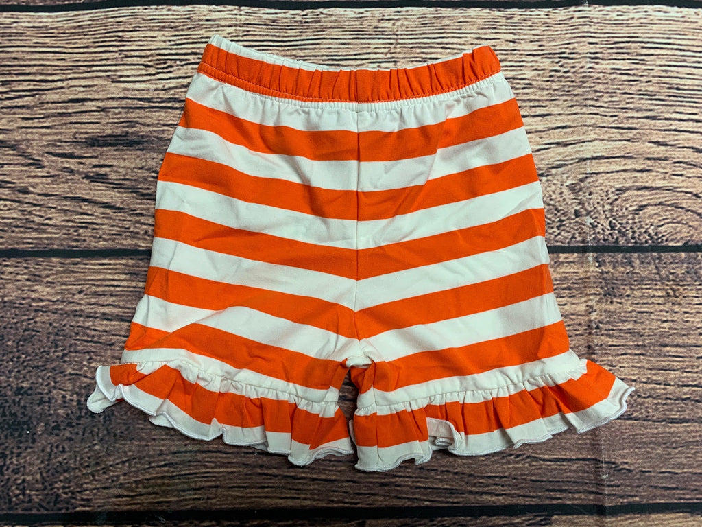 Girl's orange striped knit ruffle shorts (3m,24m)