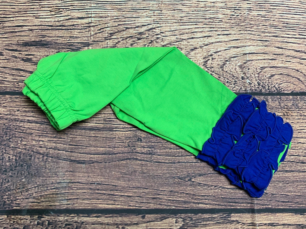 Girl's lime knit leggings with royal blue ruffle trim (18m,8t)